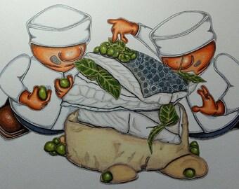 Fish, Puree and Peas