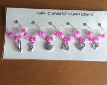 6 Handcrafted Wine Glass Charms - Mother's Day Gift