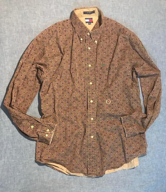 Details about Tommy Hilfiger Button Front Shirt Men's XL Burgundy Paisley Short Sleeve