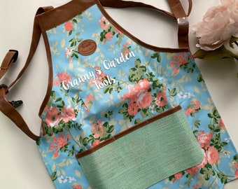 Personalised Gardening Apron in Floral Frame Choice Of Aprons and Vinyl
