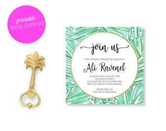 Tropical Watercolor Bridal Shower Invitation- Customized Printable/Digital Download