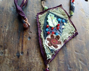 Necklace of cloth and beads