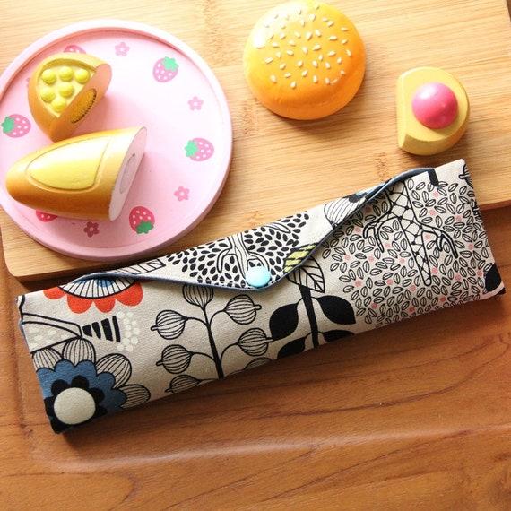 Fait à la main zéro déchets couverts Wrap + 1 cas de coutellerie cuillère bambou - couverts Wrap - coton de sac - pochette - pique-nique
