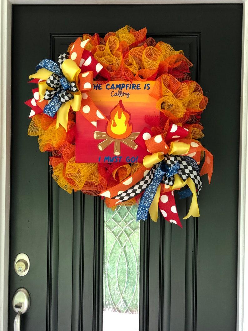The Campfire is Calling Camper Door Decor Campfire Wreath Seasonal Door Decoration