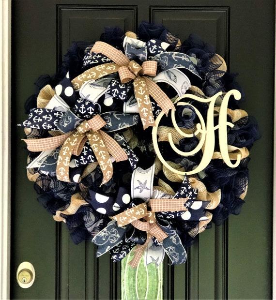 Monogrammed Wreath Nautical Decor Initial Wreath Navy Burlap Wreath