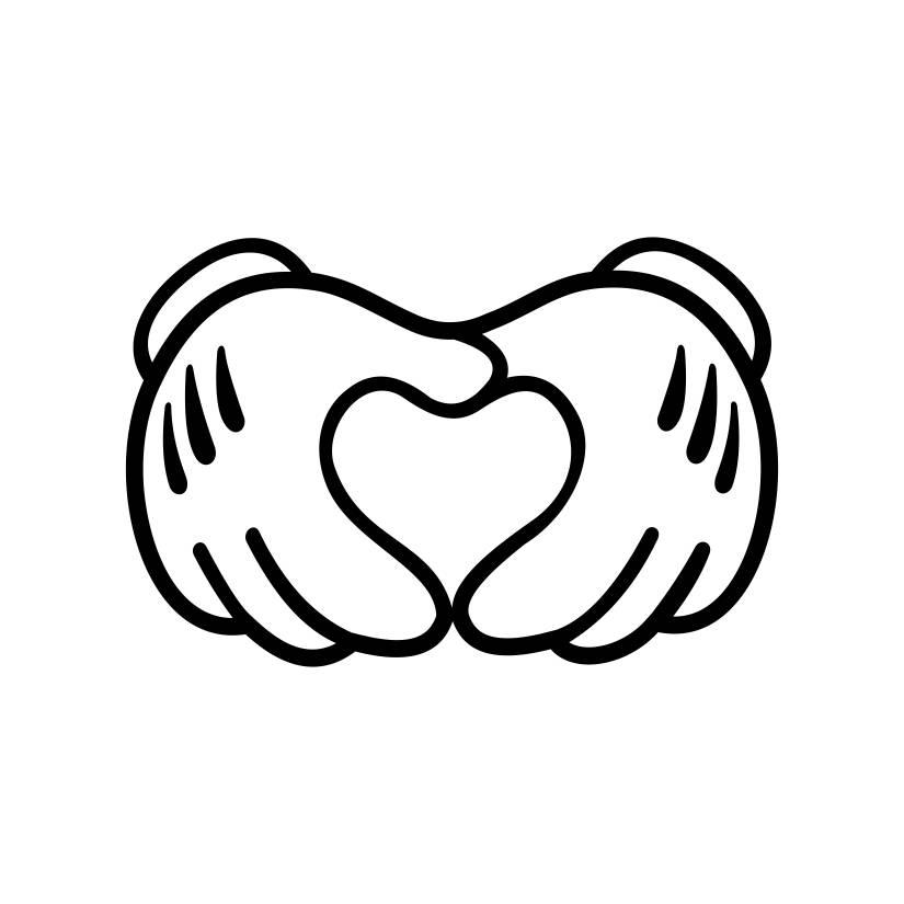 Disney Pin Heart Hands: Mickey Mouse Hands Form Heart Disney SVG Cricut Silhouette