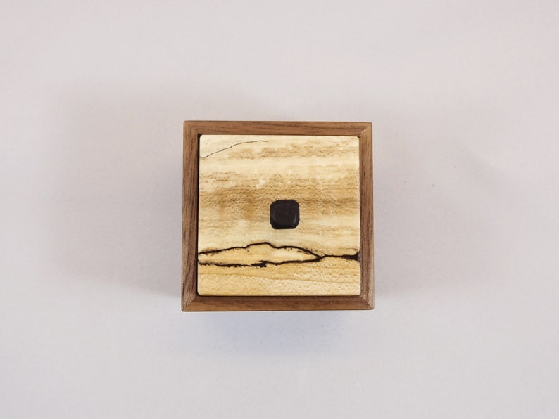 Wood Ring Box Walnut and Spalted Maple Handmade