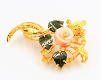 Coral rose and jade leaf gold tone brooch