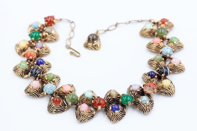 Beautiful Vintage 1950s Gilt Pewter Short Chunky Colourful Glass Agate MIRACLE Choker with extension chain