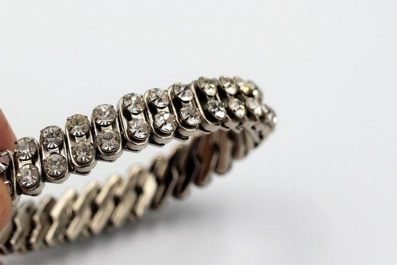 Vintage Expandable Stretch Articulated zigzag mechanism Rhinestone  Diamante Bracelet Two rows