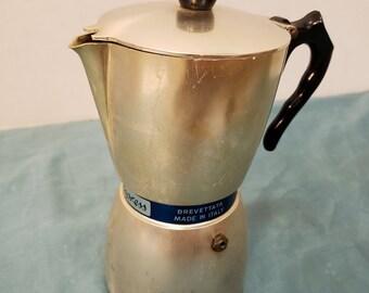 Vintage Italian Alluminio Purissimo Coffee Maker, Nova Espress, Brevettata made in Italy, Fondo Elettrico 1950s