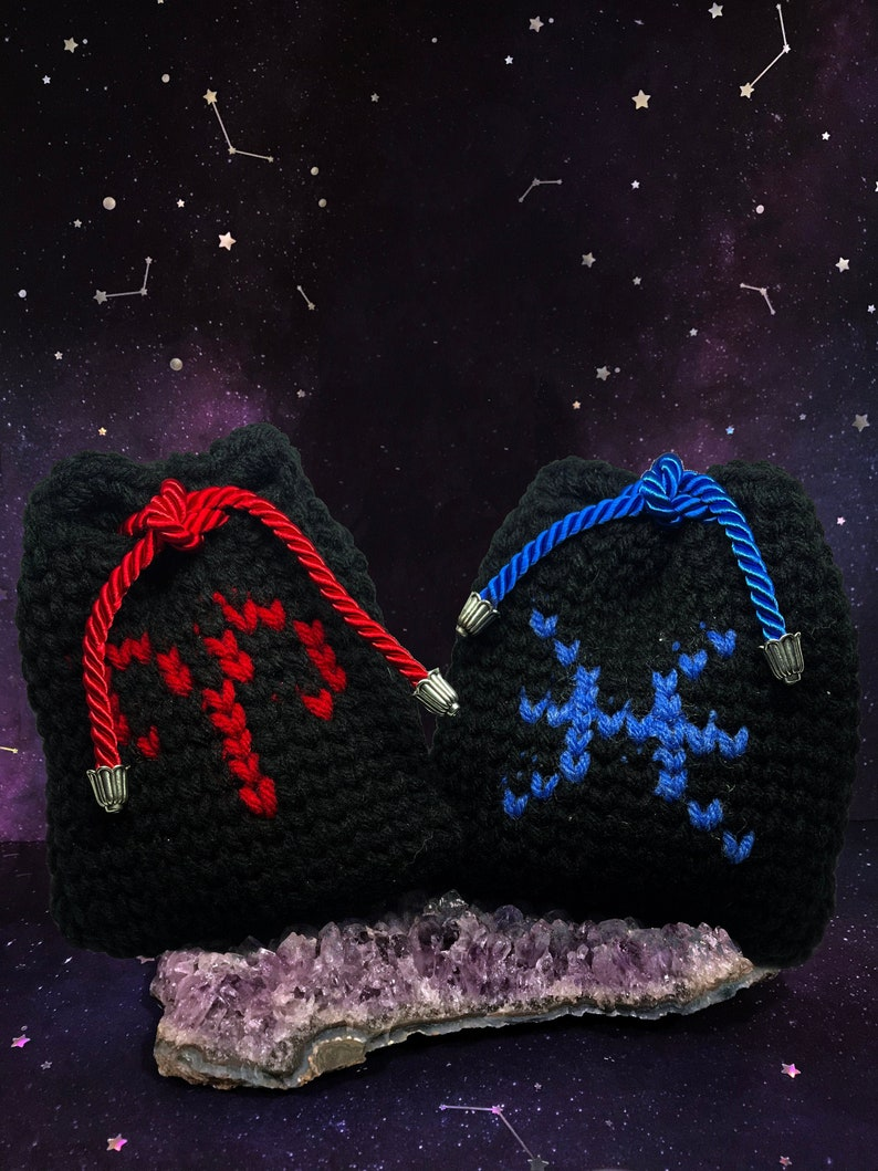 ZODIAC Knit Pouch  Aries \u2013 Pisces  Astrology bag for Crystals Chimes Tarot
