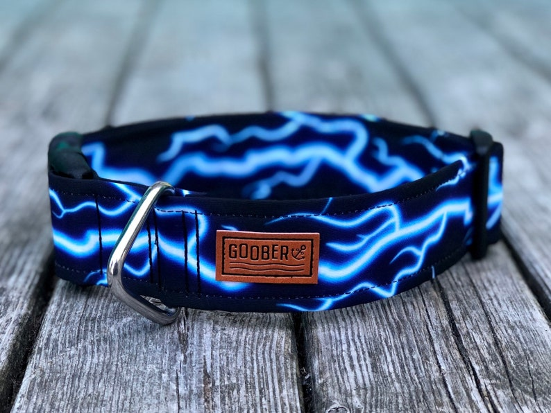 Lightning Bolt Dog Collar, Storm, Effects, 80's, Water Resistant, Stainless  Steel D Ring, Vegan