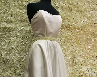 Ada strapless satin tea length wedding dress