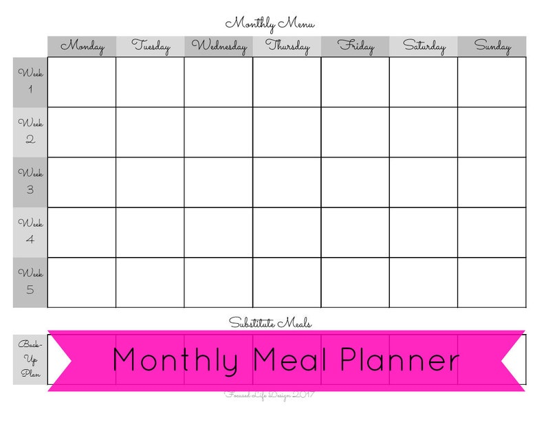 picture relating to Printable Monthly Meal Planner titled Regular Dinner Planner, Month-to-month Evening meal System Printable, Regular Evening meal Software, Dinner Software, Supper Planner, Prep, Grocery Listing Printable, Grocery Listing
