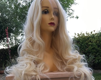 Blonde wig 26 inch long wavy layered heat resistant color 613