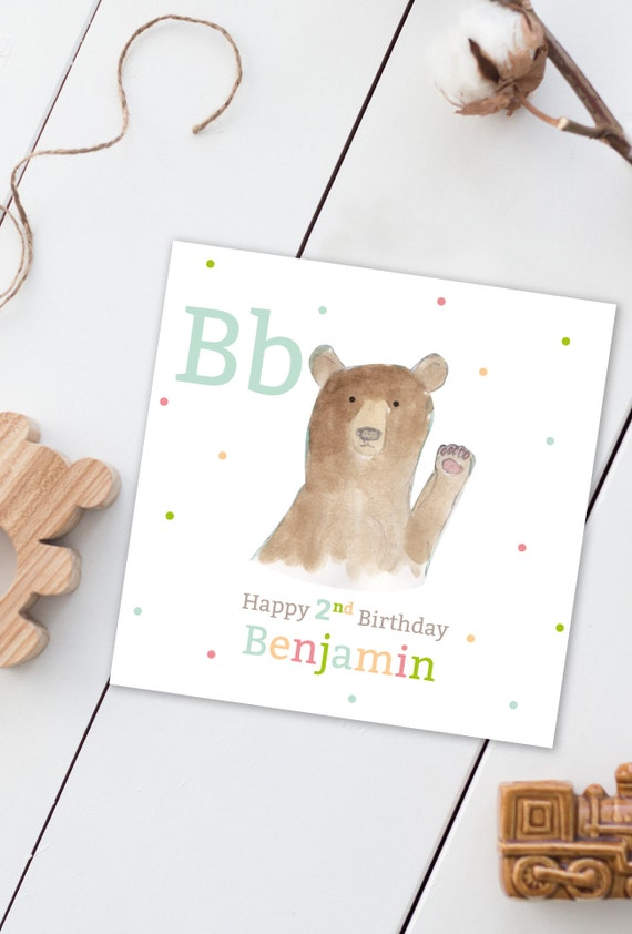 Personalised For Any Age Happy Birthday Watercolour Bear Card