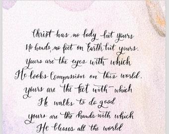 No body but Yours - St. Teresa of Avila Prayer