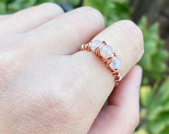 Hypersthene crystal bead ring copper ring Libra reiki crystal healing jewelry wire wrapped Sagittarius stone