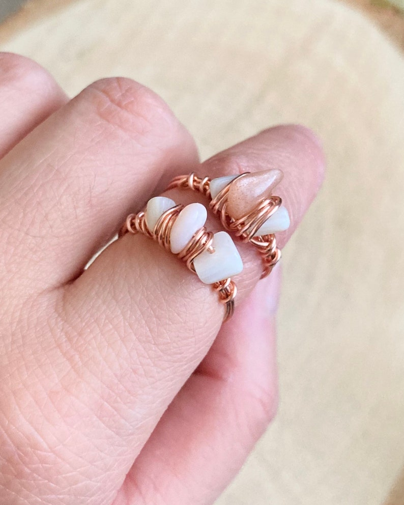 shell natural pearl ring copper wire Wire wrapped pink opal or sunstone pearl ring reiki healing shell ring gift healing jewelry