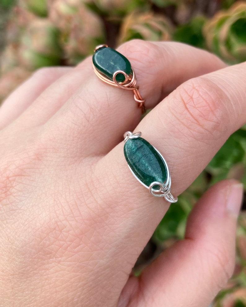 libra copper taurus Aventurine Crystal Bead Ring dainty virgo stone aries reiki crystal healing wire wrapped stone