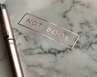 Marble Notebook/Rosegold details/Black marble/Personal Notebook