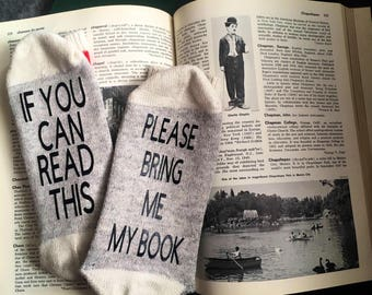 If your can Read This Bring me my Book socks for the book lovers, Librarian