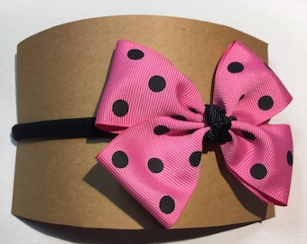 Baby/ Toddler Polka dot nylon head band , pink and black