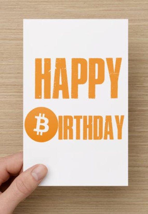 Bitcoin Birthday Card Funny Crypto Currency Digital Print Etsy