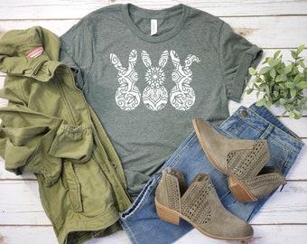 831dcdf0e Cute Easter Shirt, Lace Bunny Shirt, Mandala Bunny, Bunny Silhouette Shirt