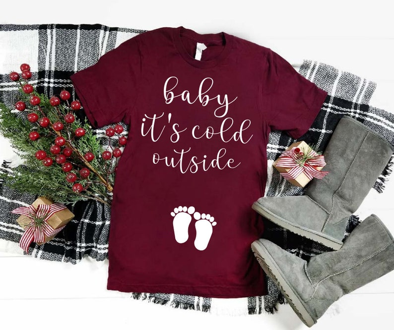 e1454031016cc Christmas Maternity Shirt Baby Its Cold Outside Mom to Be | Etsy