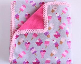 Pink Gray Ice Cream Baby Blanket - Crochet Border, Girl Baby Blanket, Baby Shower Gift, Flannel Blanket, Fleece Blanket