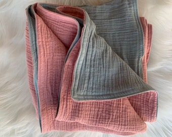 Baby Blanket Double Gauze - two tone