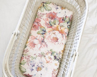 Fitted Bassinet Sheet - Audrey Floral Print