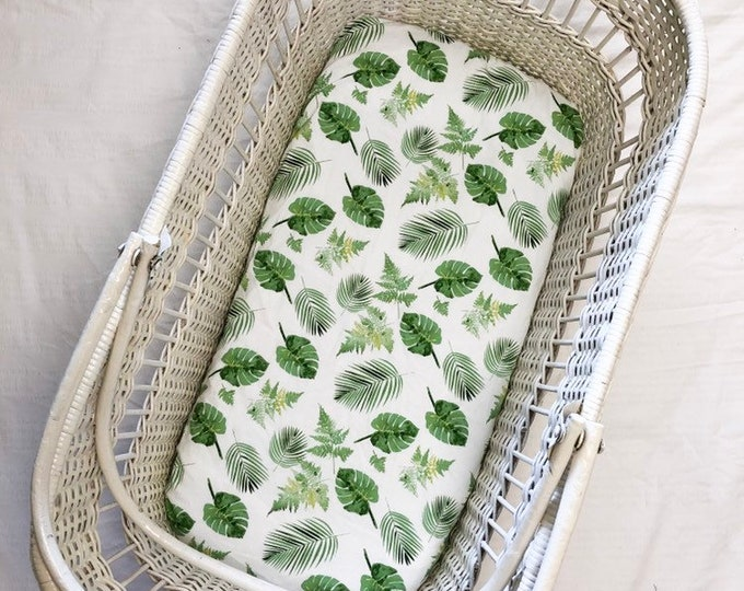 Fitted Bassinet Sheet - Tropical Leaf Print