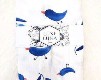 """Fitted Cot / Crib Sheet / Bassinet Sheet - """"Willow"""" blue bird print"""
