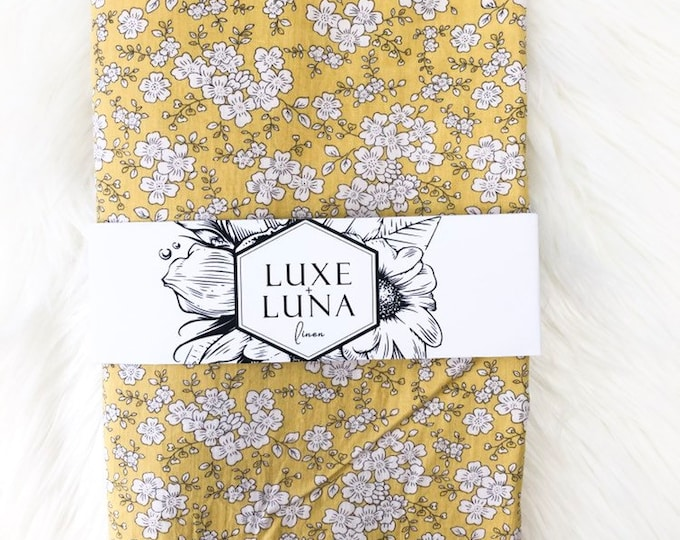 Fitted Cot / Crib Sheet / Bassinet Sheet - Billie mustard floral print