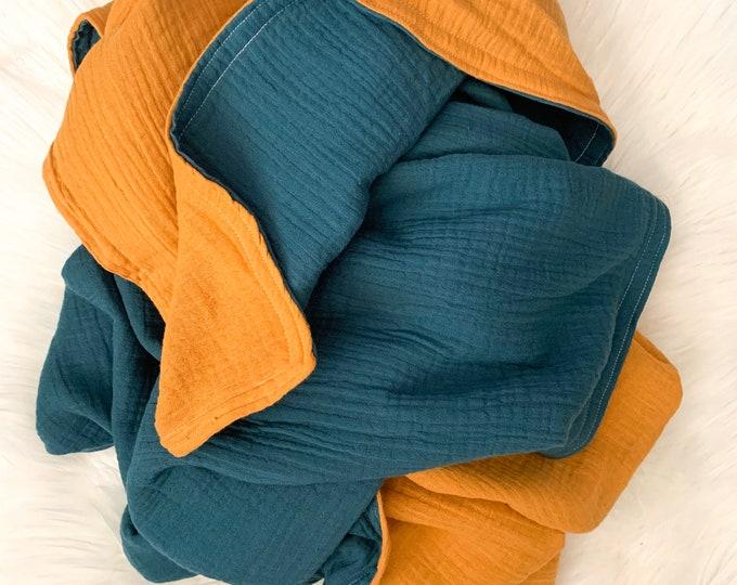 Baby Blanket Double Gauze - Mustard and Emerald