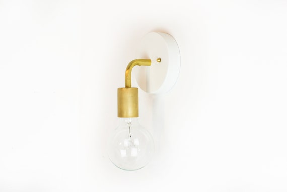 White And Brass Wall Lamp Plug In Wall Sconce Vanity Light Etsy
