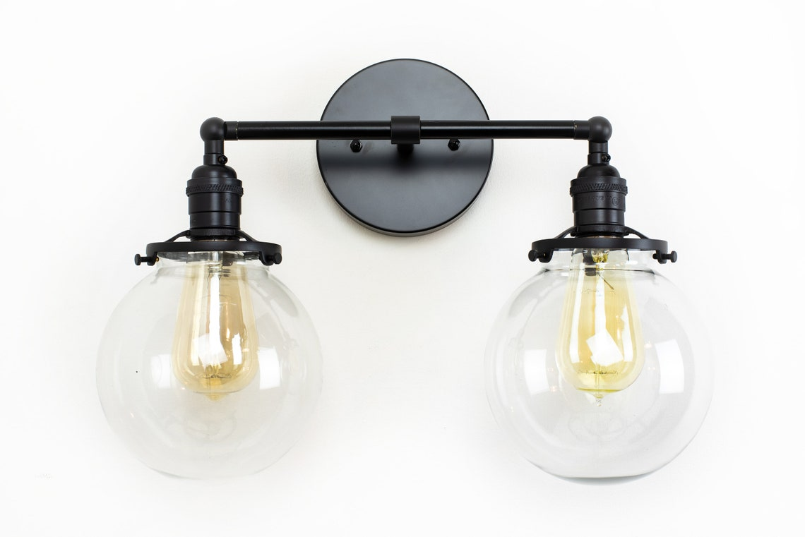 Globe Vanity Lights Wall Lighting Bathroom Lights Wall Sconce Bathroom Fixture Black Wall Lamp Farmhouse Lighting