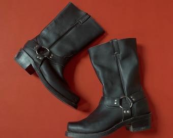 Men's Boulet black leather motorcycle boots size 9.5
