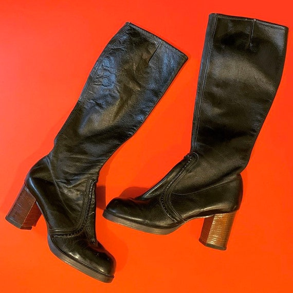 Vintage 1960's leather Go-Go boots women's size UK