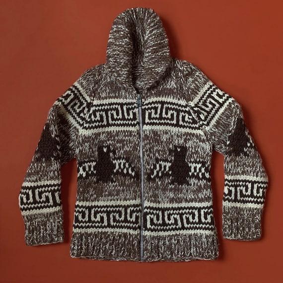 Vintage 70's thunderbird wool Cowichan sweater