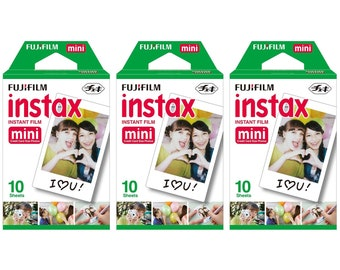 FujiFilm Fuji Plain Style Instax Mini Picture Format Instant Film Photo 3 Packs 30 Shots For Polaroid 7S 8 9 25 50S 70 90 SP-1 SP-2 X122