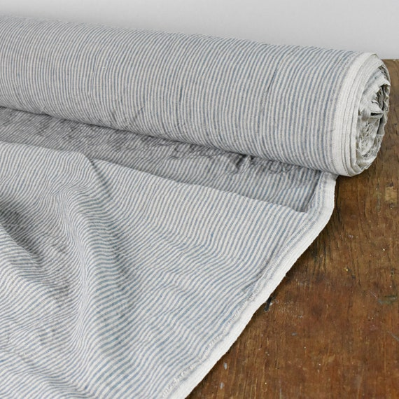 Stonewashed 100% linen fabric by yard / by meter  Blue / oatmeal striped  medium weight linen fabric 6 1 oz/yd2 (205 gsm)