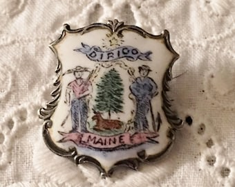 Antique 1902 Sterling Silver Enamel Maine State Seal  Crest Badge Brooch Pin Signed Pine Tree Colonist Revolutionary War Militia Victorian