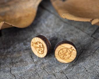 Surgical Steel Ladybird Circle Studs - Wood Bamboo - Ladybug Free Shipping Worldwide - Geometric Statement Stud Earrings Hypoallergenic