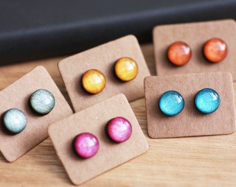 2d9a23e9a Tiny 6mm Micro Studs - Resin & Bamboo - Surgical Steel - Miniature Studs  Earrings - Pink Green Blue Orange Gold - Free Shipping Jewelry