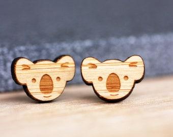 Surgical Steel Koala Studs - Wood Bamboo - Eco friendly Bamboo Free Shipping Worldwide Geometric Statement Stud Earrings Hypoallergenic