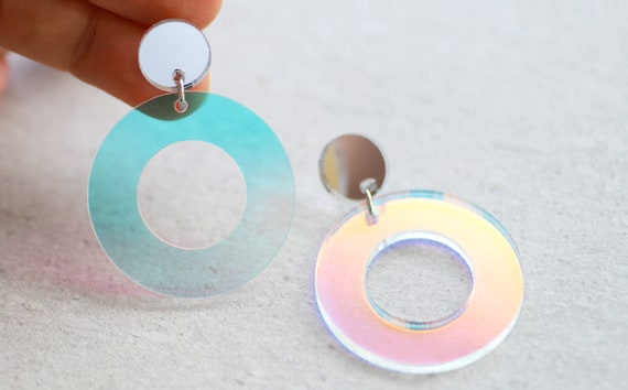 Iridescent Hoops • Magic Color Change Iridescent Earrings • Statement Acrylic Stud Dangles • Acrylic Jewelry • Fun Hoop Earrings • Silver by Etsy